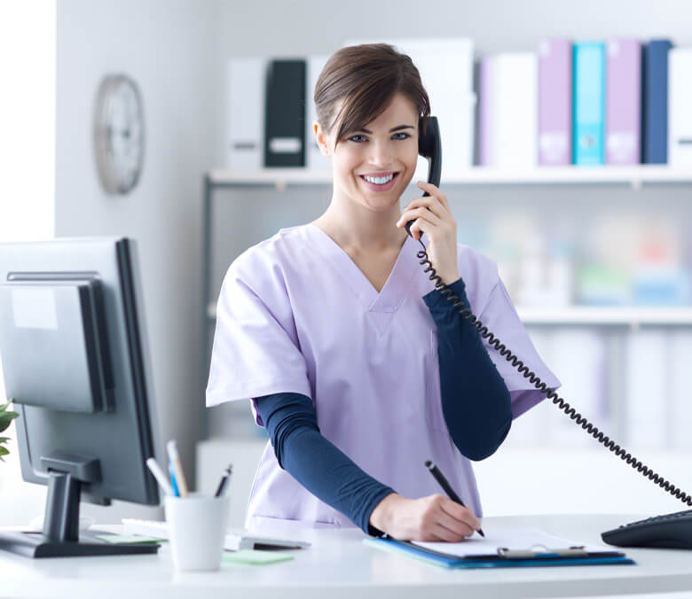 dental assistant on phone